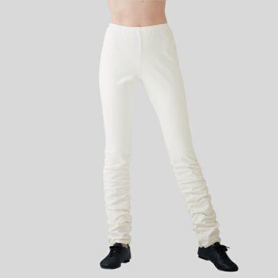 白でも透けない紫外線防止のシャーリングパンツ