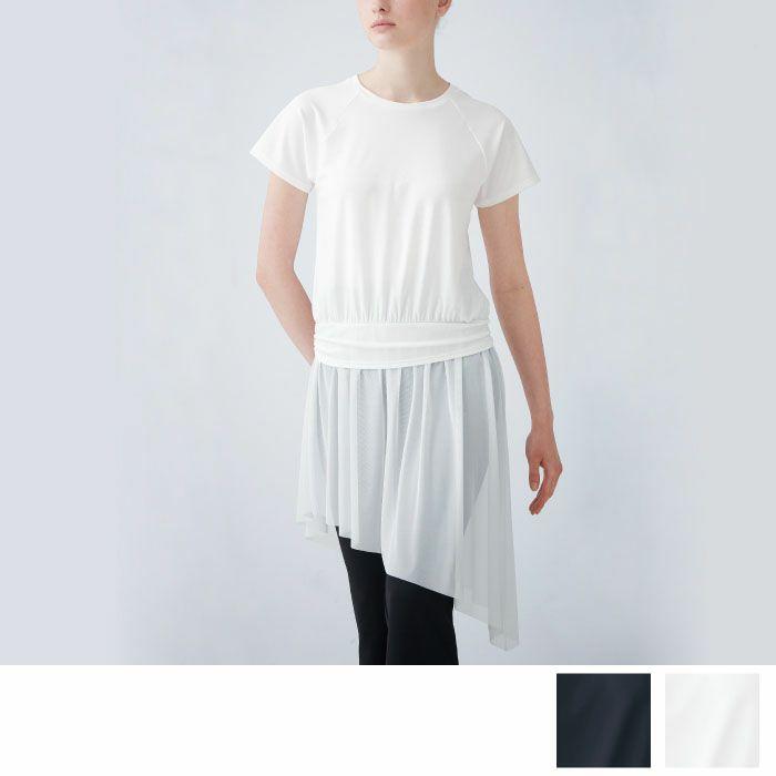 メッシュスカート付きアシメトリーチュニック